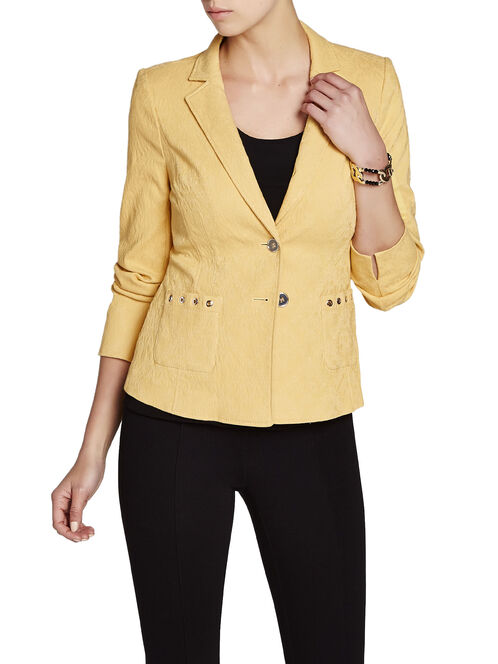 Cotton Jacquard Grommet Trim Jacket, Yellow, hi-res