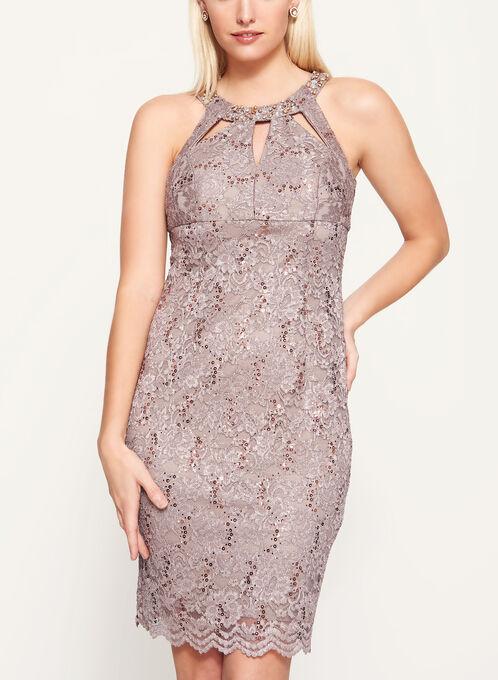 Embellished Cleo Neck Lace Dress, Brown, hi-res