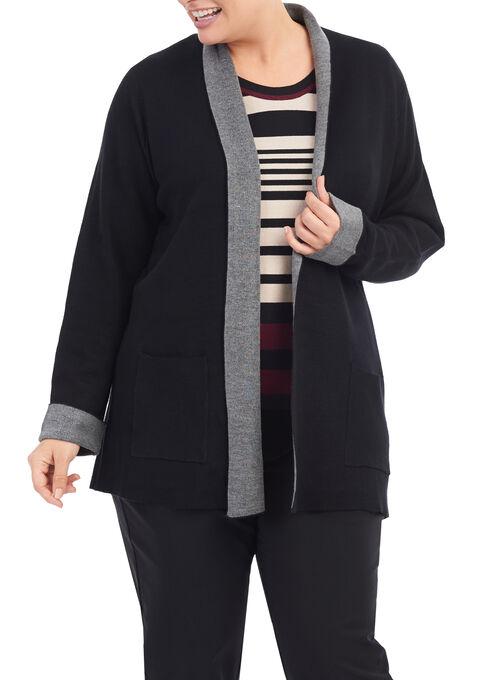 Shawl Collar Knit Cardigan , Black, hi-res