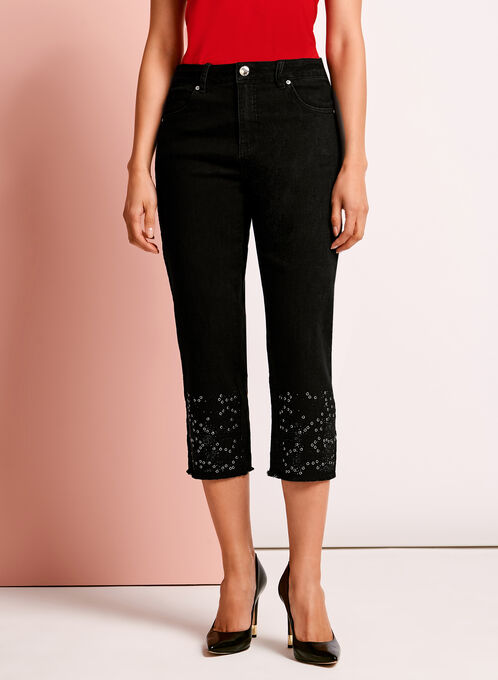 Simon Chang - Embellished Denim Capris, Black, hi-res