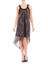 Sleeveless Chiffon High-Low Dress, Brown, hi-res