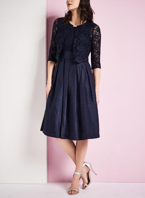 Glitter Lace Dress with Bolero, Blue, hi-res