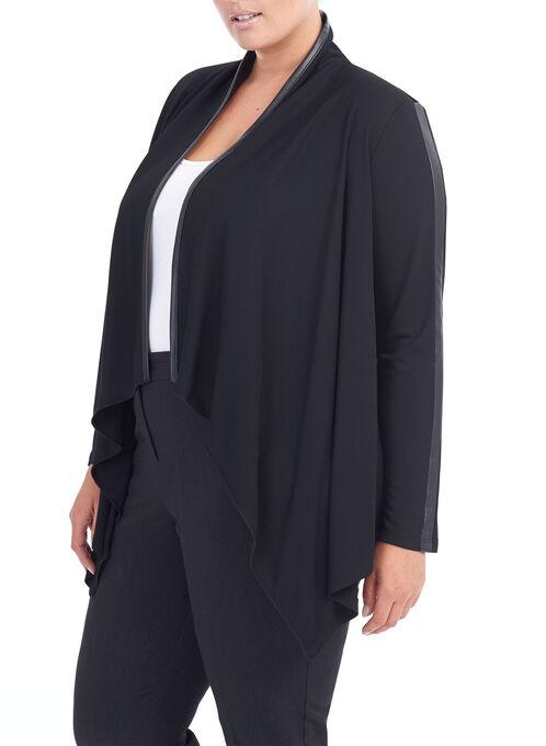 Pleather Trim Jersey Blazer, Black, hi-res