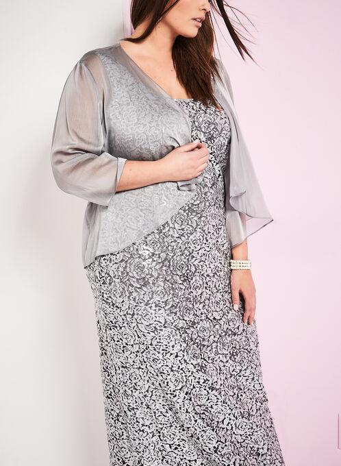 Sequin Gown with Chiffon Bolero, Silver, hi-res