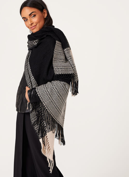 Color Block Open Front Poncho, Black, hi-res