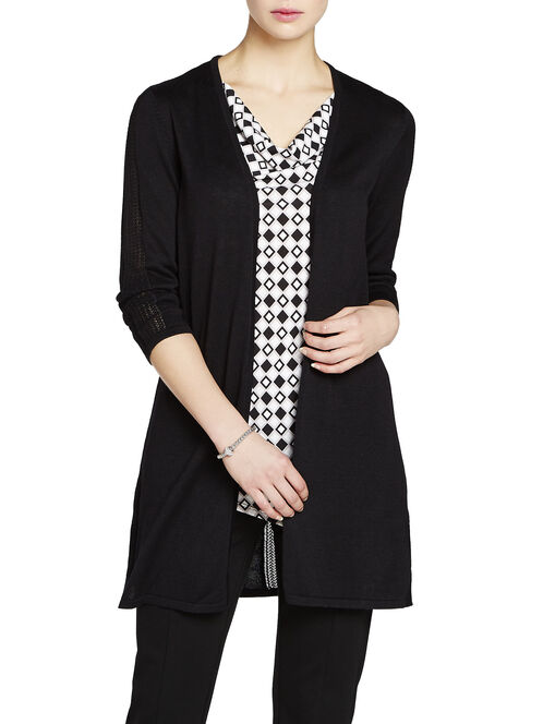 3/4 Sleeve Pointelle Stripe Cardigan, Black, hi-res