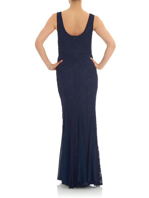 Sleeveless Lace Mermaid Gown, Blue, hi-res