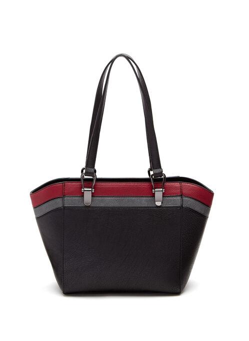 Contrast Stripe Tote Bag, Black, hi-res