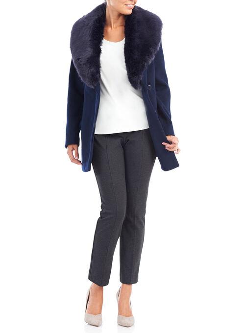 Wool-Like Faux Fur Coat, Blue, hi-res