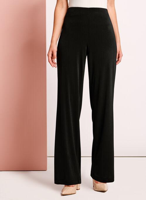 Straight Leg Crepe Knit Pants, Black, hi-res