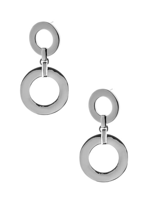 Double Ring Dangle Earrings, Grey, hi-res