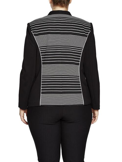Variegated Stripe Collarless Blazer, Black, hi-res