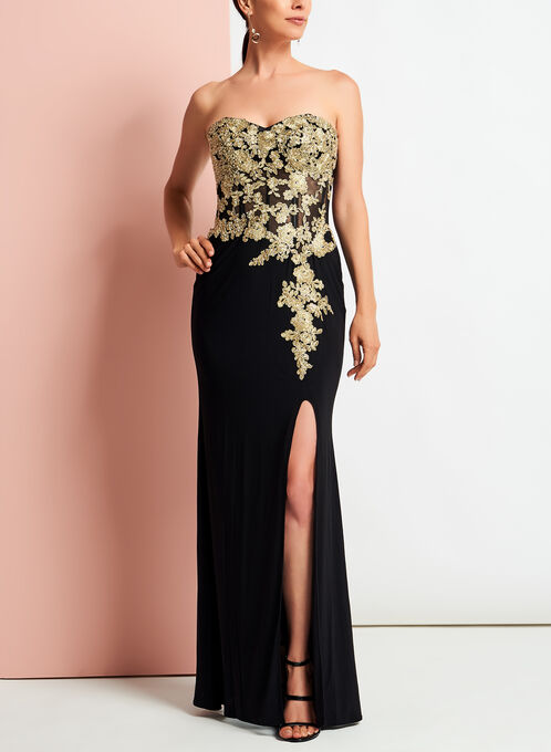 Embellished Appliqué Jersey Gown, Black, hi-res