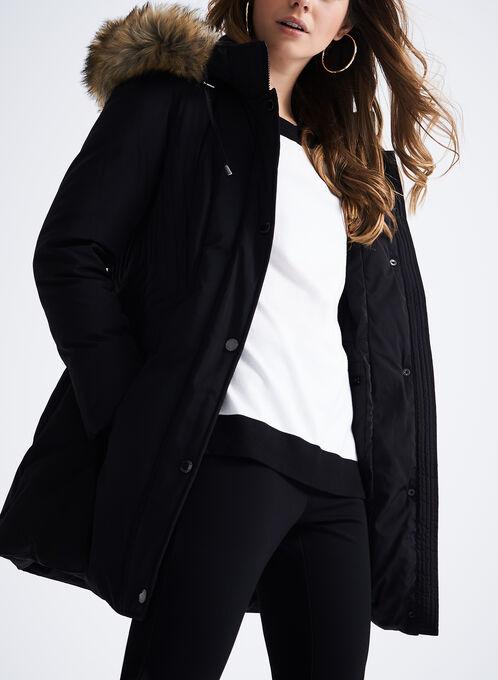 Faux Fur Down Coat, Black, hi-res