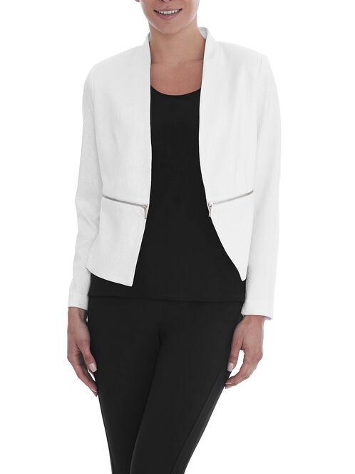 Jacquard Zipper Trim Blazer, White, hi-res