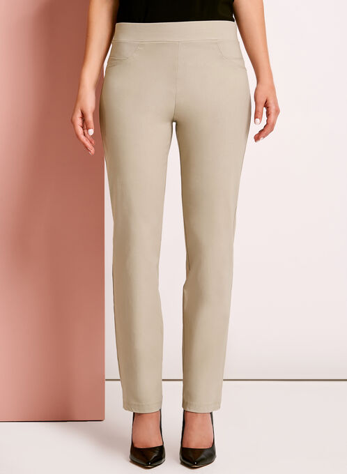 City Fit Pull-On Straight Leg Pants, Grey, hi-res