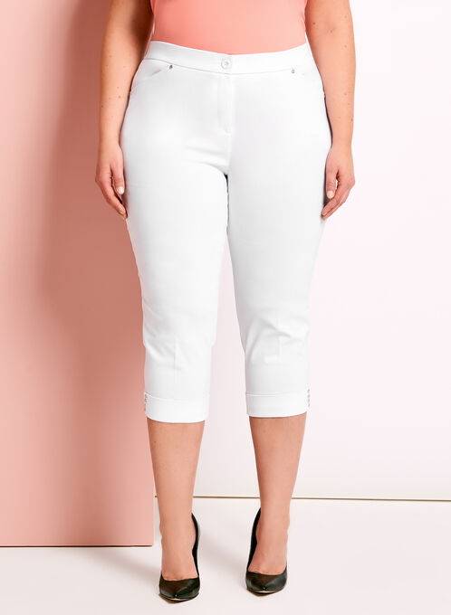 Signature Fit Embellished Capri Pants, White, hi-res