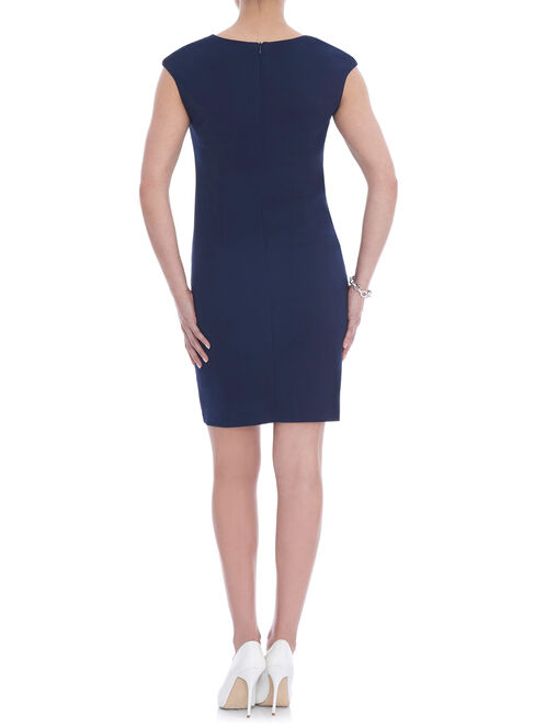 Split V-Neck Sheath Dress, Blue, hi-res