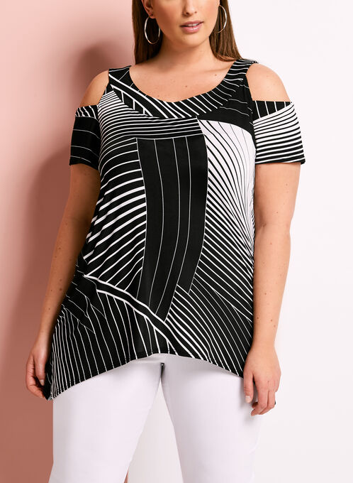 Geometric Print Cold Shoulder Jersey Tunic, Black, hi-res