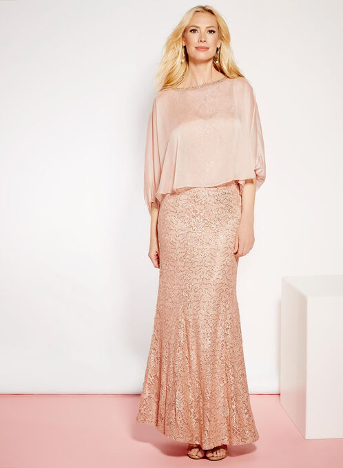 Sequin Lace Embellished Trim Dress, Orange, hi-res