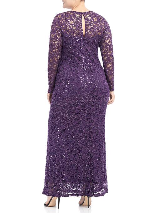 Long Sleeve Sequin Lace Dress, Purple, hi-res