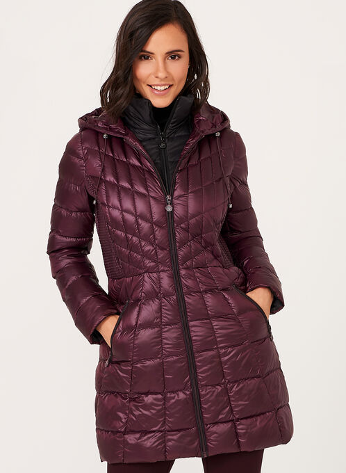 Nuage - Lightweight Packable Down Coat , Red, hi-res