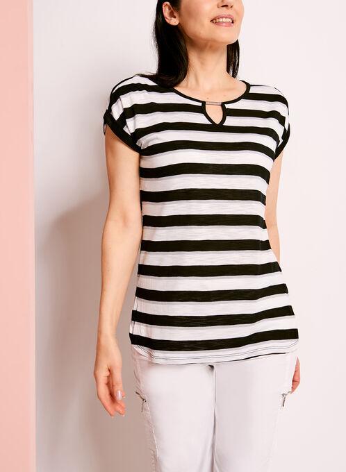 Stripe Print Keyhole T-Shirt, Black, hi-res