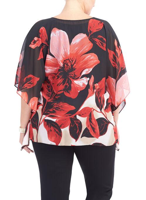 3/4 Sleeve Printed Poncho Blouse, Black, hi-res