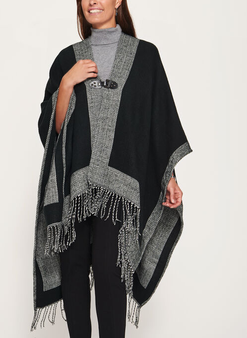 Front Buckle Poncho, Black, hi-res