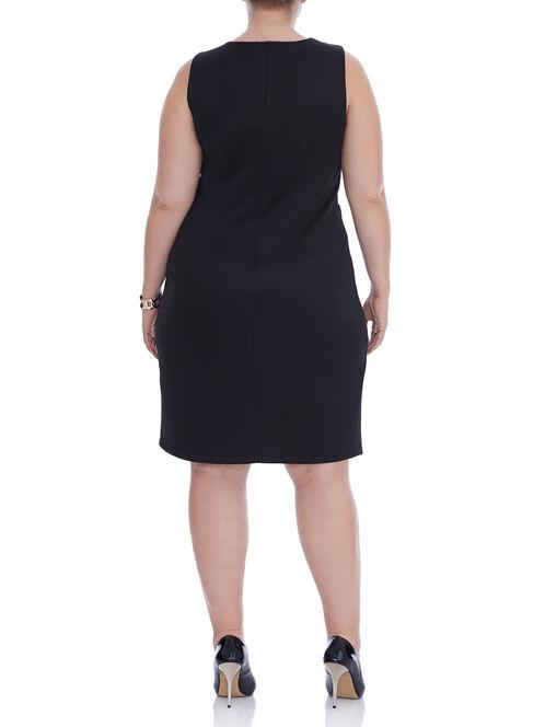 Sleeveless Scuba Zipper Trim Dress, Black, hi-res