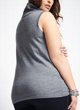 Sleeveless Turtleneck Knit Top , Grey, hi-res