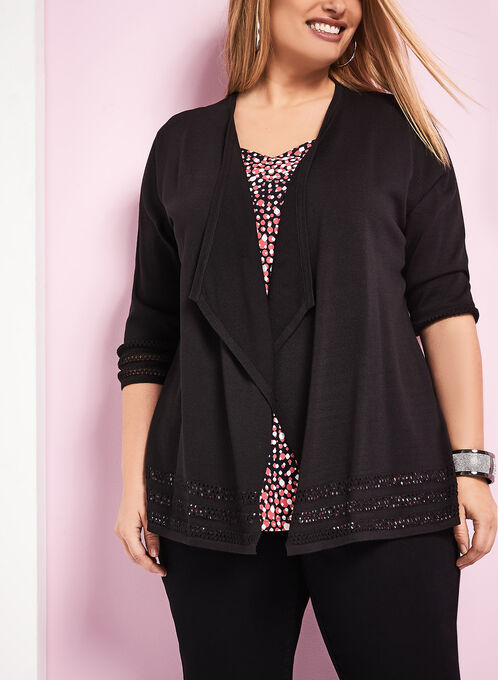 Open Front Trim Detail Cardigan, Black, hi-res