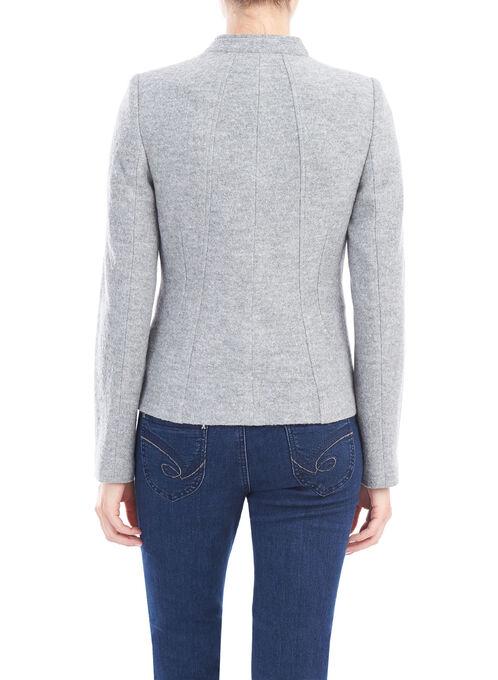 Wool Blend Zipper Detail Jacket, Grey, hi-res