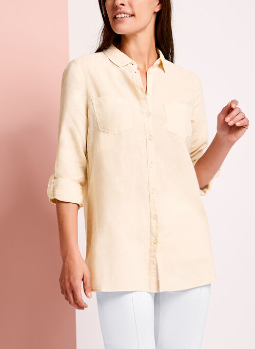 Dual Pocket Linen Button Down Shirt, Off White, hi-res