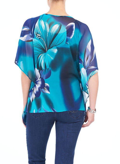 Floral Print Poncho Blouse, Blue, hi-res