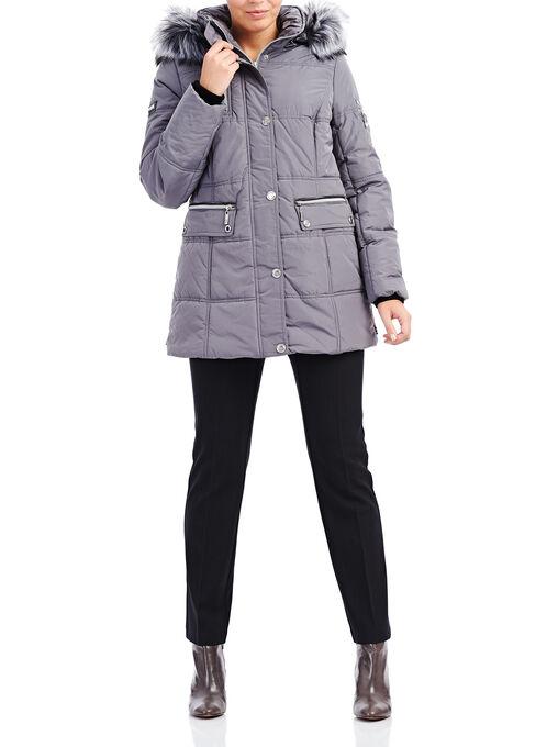 Novelti Faux Fur Polyfill Coat , Grey, hi-res