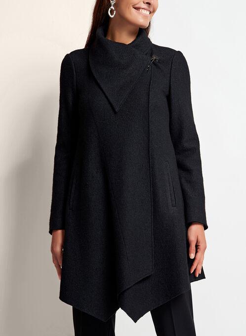 Wool Blend Drape Front Coat, Black, hi-res