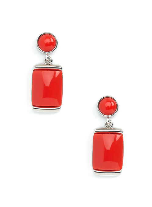 Tiered Stone Earrings, Red, hi-res