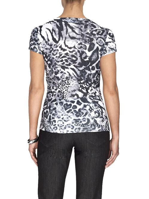 Printed Scoop Neck T-Shirt, Black, hi-res