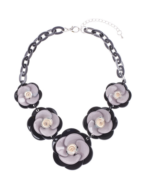 Floral Stone & Chain Necklace, Black, hi-res