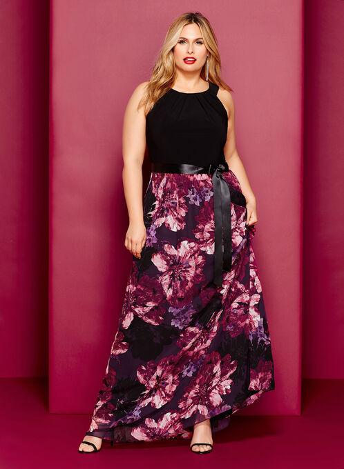 Cleo Neck Floral Print Maxi Dress