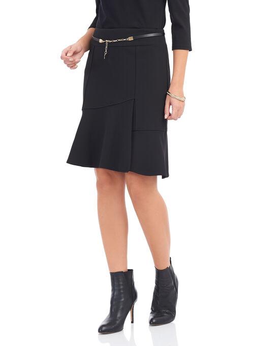 Knit Crepe Skirt with Chain Belt, Black, hi-res