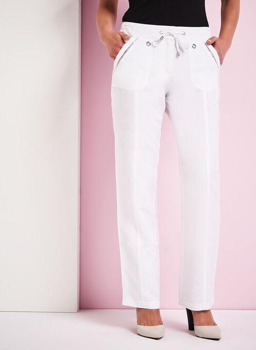 Pointelle Trim Wide Leg Linen Pants, White, hi-res