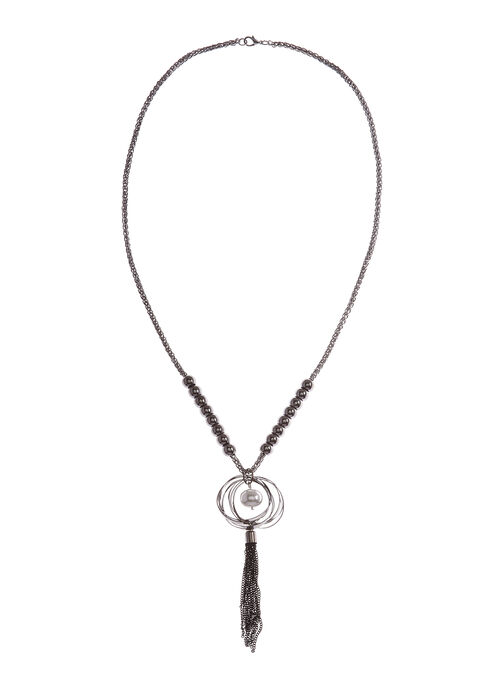 Tassel Pendant Chain Necklace, Grey, hi-res