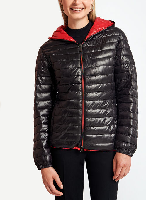 Quilted Contrast Packable Coat, Black, hi-res