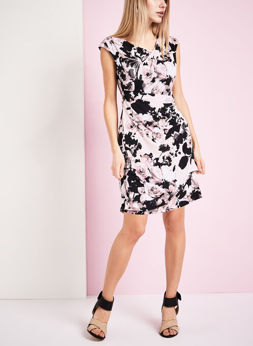 Cowl Neck Floral Print Dress, Red, hi-res