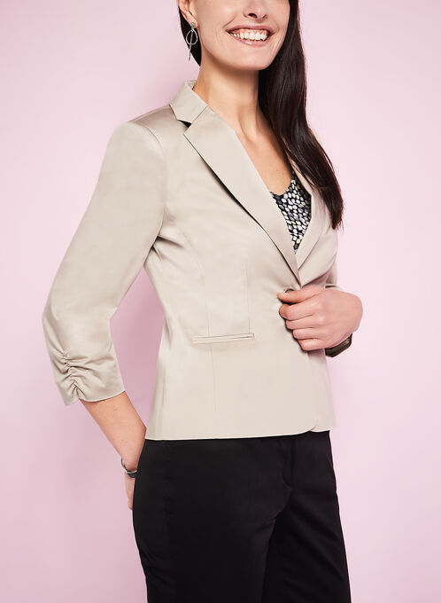 Single Button Blazer, Grey, hi-res