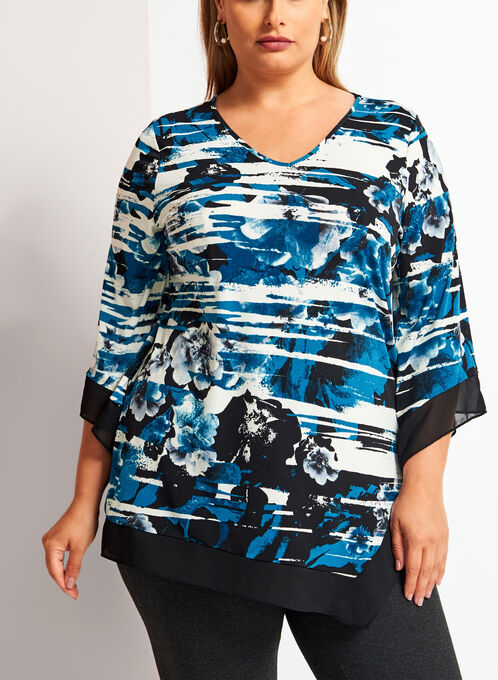 3/4 Bell Sleeve Floral Print Asymmetric Tunic , Blue, hi-res
