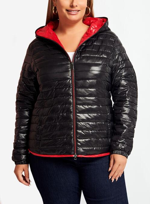 Quilted Contrast Packable Coat, Black, hi-res