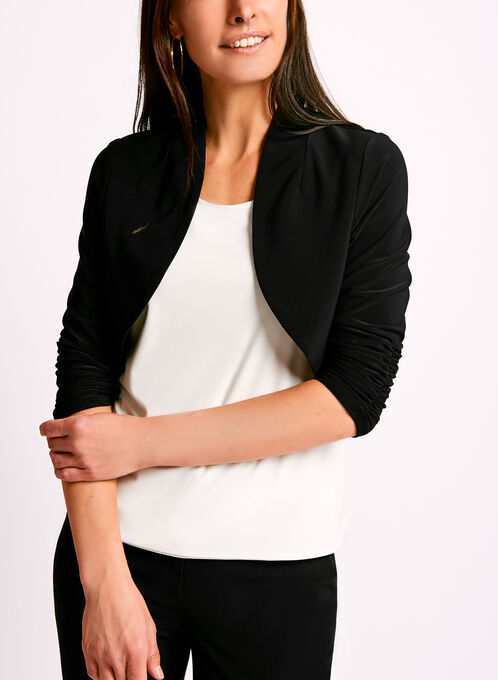 3/4 Sleeve Shirred Bolero, Black, hi-res